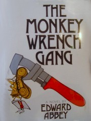 "Book Jacket from the hardcover edition of Edward Abbey's ""The Monkey Wrench Gang"" - Click for larger image (http://jamesmcgillis.com)"
