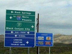 Interstate I-17 road signs in Black Canyon City, AZ - Click for larger image (http://jamesmcgillis.com)