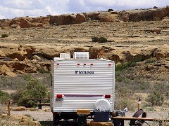 Author's Pioneer Travel Trailer at Gallo Campground, Chaco Canyon, NM - Click for larger image (http://jamesmcgillis.com)