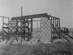 Construction of the first building at Crescent Junction, Utah (ca. 1930's) - Click for larger image (http://jamesmcgillis.com)