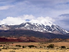 The La Sal Range, as viewed from the Spanish Valley in April 2012, with fresh snow clearing - Click for larger image (http://jamesmcgillis.com)