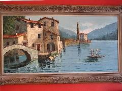 Costantino Proietto original oil painting, including the footbridge at Nesso, on Lake Como, Switzerland - Click for larger image (http://jamesmcgillis.com)