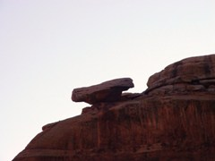 A balanced rock of Navajo Sandstone marks the entrance to Seven Mile Canyon, near Moab, Utah - Click for larger image (http://jamesmcgillis.com)