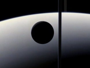 Saturn, shown as an Energy Bridge (Moon transit and ring, seen edge-on) - Click for larger image (http://jamesmcgillis.com)