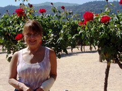Spokesmodel Carrie McCoy in the rose garden at Robert Mondavi Winery, Napa Valley, California - Click for larger image (http://jamesmcgillis.com)