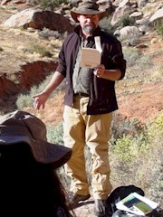 Author Craig Childs reads from his field notes at Seven Mile Canyon, Moab, Utah - Click for larger image (http://jamesmcgillis.com)