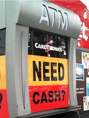 "With ""Mad Men"" bravado, a CardTronics /Costco in-store ATM asks, ""Need Cash?"" - Click for larger image (http://jamesmcgillis.com)"