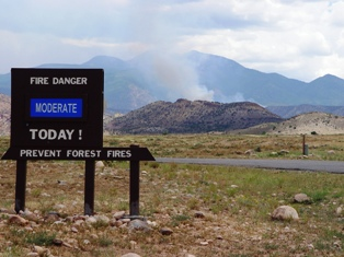 """Moderate"" Fire Danger sign on Geyser Pass Road, Spanish Valley, San Juan County, Utah - Click for larger image (http://jamesmcgillis.com)"