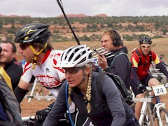 BBC America film crew in the midst of race action at the 24-HOM 2011, near Moab, UT. - Click for larger image (http://jamesmcgillis.com)