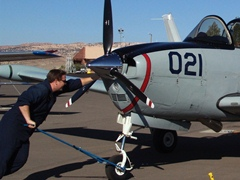 Designated as Serial Number 021, This Beech B-45 military trainer inches into place at Canyonlands Field, Moab, Utah - Click for larger image (http://jamesmcgillis.com)