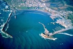 Wave action in an aerial view of the harbor at Crescent City, California - Click for larger image (http://jamesmcgillis.com)