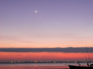 Feb. 2009 conjunction of Moon, Mercury, Jupiter and Mars. - Click for larger image (https://jamesmcgillis.com)