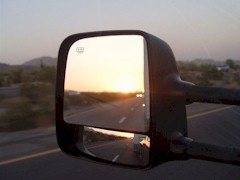 Rear view mirror sunset at Quartzsite, AZ - Click for larger image (http://jamesmcgillis.com)