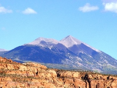 High peaks of Sierra La Sal, as seen from Ken's Lake, Moab, Utah - Click for larger image (http://jamesmcgillis.com)