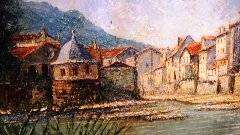 Detail from the Tino Proietto painting of Bad Kreuznach, Germany - Click for larger image (http://jamesmcgillis.com)