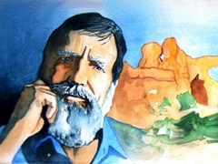 The concerned countenance of Edward Abbey stared at me from a wall in the backroom of Back of Beyond Books, Moab, Utah - Click for larger image (http://jamesmcgillis.com)