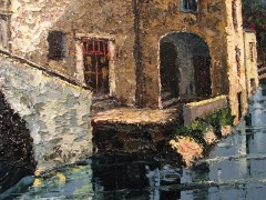 Detail of the footbridge and villa at Nesso, Lake Como, Switzerland, from the original oil painting by Costantino Proietto - Click for larger image (http://jamesmcgillis.com)