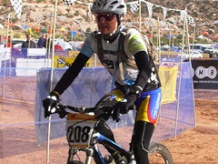 Michelle Reagan of Broke Bike Mountain team enters the scoring tent Saturday afternoon - Click for larger image