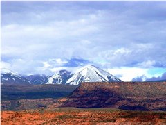 The snow covered La Sal Range, as viewed from the Moab Rim Campark & Cabins, Moab, Utah - Click for larger image (http://jamesmcgillis.com)
