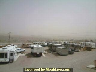 Webcam view - April 15, 2009 dust storm blankets the La Sal Mountains, obscured in the distance - Click image for alternate view (http://jamesmcgillis.com)
