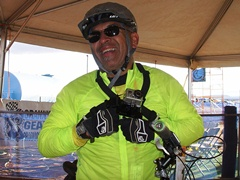 Separately-abled racer Frank Garduno flashes a smile after completing his first of three laps at the 24-HOM 2011 - Click for larger image (http://jamesmcgillis.com)