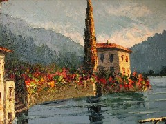 Detail of the original oil painting of Lake Como, Switzerland by Italian artist C.Proietto, including his signature red flowers in the mid ground - Click for larger image (http://jamesmcgillis.com)
