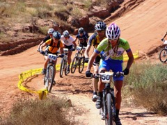 24-Hours of Moab off-road bike racers stay on course during a crowded and difficult uphill section - Click for larger image (http://jamesmcgillis.com)
