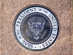 The U.S. Presidential Seal affixed to the crypt of President Ronald Reagan, at the Ronald Reagan Library in Simi Valley, California - Click for larger image (http://jamesmcgillis.com)
