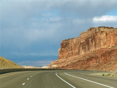 Interstate I-70 pitches down a steep and windy grade at the San Rafael Reef - Click for larger image (http://jamesmcgillis.com)