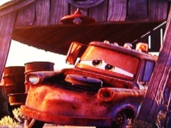 Radiator Springs or Mesquite, Nevada? Tow Mater, from the movie Cars wakes up in his old barn - Click for larger image (http://jamesmcgillis.com)