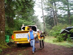 Blue Sky Tree Service crew arrives for work on a misty morning in the forest at Port Orford - Click for larger image (http://jamesmcgillis.com)