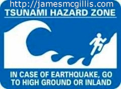 Tsunami hazard zone warning sign - Click for map of tsunami propagation speeds in the Pacific Ocean (http://jamesmcgillis.com)