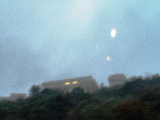 """Einstein-Lens, over Getty Center, Los Angeles, CA shows, """"As it is above, so it is below."""" - Click for close-up image (https://jamesmcgillis.com)"""