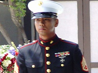 Staff Sergeant Rosal, of the Second Battalion 23rd Marines at the 2009 Memorial Day event honoring posthumous Congressional Medal of Honor recipient, Corporal Larry L. Maxam, of Burbank, California - Click for larger image (http://jamesmcgillis.com)