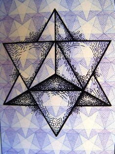 The Merkaba - 3D intersecting pyramids - Sacred Geometry symbol of healing and safe-space - Click for larger image. (https://jamesmcgillis.com)