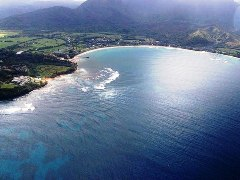 Aerial View of Hanalei Bay, Kauai, Hawaii shows vulnerability of low-lying coast to the threat of tsunami - Click for larger image (http://jamesmcgillis.com)