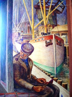 "Peering through ""The Veil"" (Wall mural, Coit Tower, San Francisco, CA) - Click for larger image. (http://jamesmcgillis.com)"