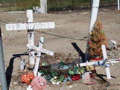 A small memorial at Rice Avenue commemorates at least two separate train/vehicle collisions at the grade crossing - Click for larger image (https://jamesmcgillis.com)