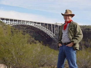 Author Jim McGillis, at the steel arch bridge, Burro Creek Campground, Arizona - Click for larger image (http://jamesmcgillis.com)