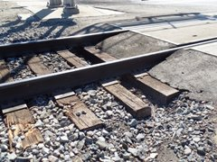 Only close inspection of the railroad tracks and roadbed at Rice Ave. in Oxnard will show the unrepaired damage to the Union Pacific Railroad's Coast Line - Click for larger image (https://jamesmcgillis.com)
