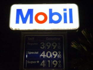 $3.99 Regular fuel price at Mobil, Needles, AZ (Oct. 2008) - Click for larger image. (http://jamesmcgillis.com)