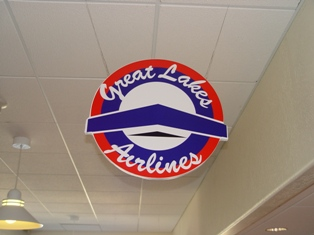 A Great Lakes Airlines overhead logo sign hangs at Moab Airport - Click for additional information (http://jamesmcgillis.com)