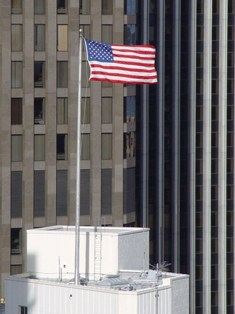 U.S. Flag flying on top of a Downtown San Francisco building - Click for larger image (http://jamesmcgillis.com