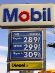 This sign at Desert View Mobil depicts the price of fuel in Needles, California - February 2009 - Click for larger image (http://jamesmcgillis.com)