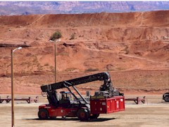 Empty nuclear waste container being moved at UMTRA site, Moab, Utah - Click for larger image (http://jamesmcgillis.com)