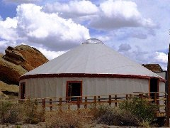 A large yurt serves as the Chaco Canyon temporary Park Headquarters - Click for larger image (https://jamesmcgillis.com)