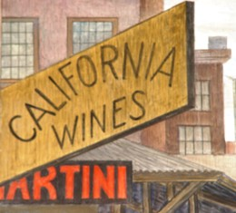 """Martini"" and ""California Wines"" signage detail in the Great Depression era mural by artist Diego Rivera, Coit Tower, San Francisco, California - Click for larger image (http://jamesmcgillis.com)"