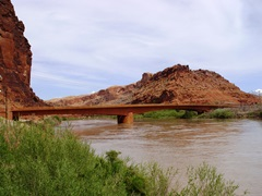 On May 25, 2011, the Colorado River puts its high water mark on the new highway bridge at Moab, Utah - Click for larger image (http://jamesmcgillis.com)