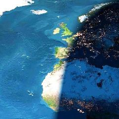 Daylight on the Atlantic Ocean and night time in most of Europe - Click for larger image (http://jamesmcgillis.com)