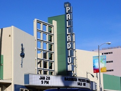 The 1940 Streamline Moderne facade, marquee and signage at the Hollywood Palladium Theater - Click for larger image (http://jamesmcgillis.com)
